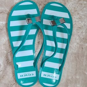 👜COACH Landon Jelly Flip Flops Green Women's 7